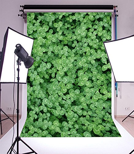 Lfeey Photography Background 5X7ft Spring Scenic Trefoil Clover Shamrock Groves Grass Green Leaves Kid Child Baby Lovers Girl Artistic Portrait Photoshoot Props