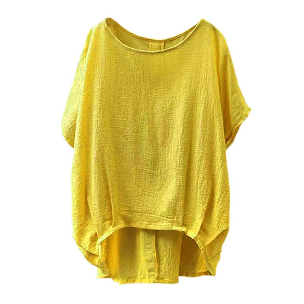Luckycat T Shirt Mujer Verano Tallas Grandes Dama de Lino Camiseta Color s/ólido Blusa Camisetas Mujer Blusa Mujer Elegante Camisetas Mujer Manga Corta Camisetas Mujer Fiesta Camisetas