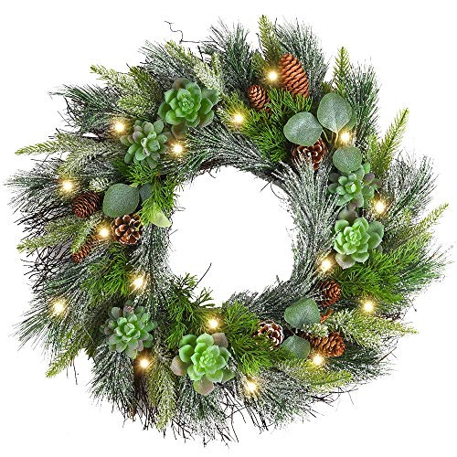 WANNA-CUL 24 Inch Winter Frost Christmas Pine Wreath Decoration for Front Door, Farmhouse Christmas Mantel Wreath with Succulent Pine Cones and Eucalyptus Leaf (Wreath Mantel)