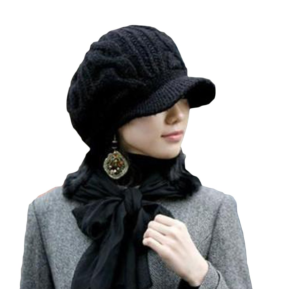 LOCOMO Men Women Boy Girl Slouchy Cabled Pattern Knit Beanie Crochet Rib Hat Brim Newsboy Cap Warm FAF026BLK Black by LOCOMO Hats USA