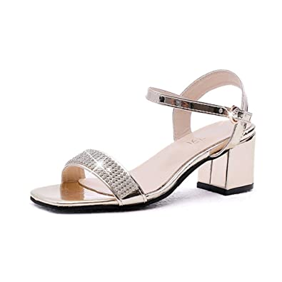 784e5a1bec3a Sparkling Rhinestone Band Chunky Block Heels Sandals for Womens Open Toe  Ankle Strap Party Shoes Gold