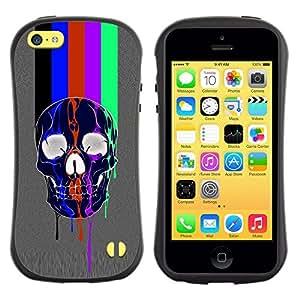 Paccase / Suave TPU GEL Caso Carcasa de Protección Funda para - Rainbow Tv Skull Grey Pattern Lines - Apple Iphone 5C