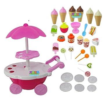 Togames-ES Carrito de Dulces para niña Tienda de Helados Supermercado Trolley Juguetes para niños con música Ligera: Amazon.es: Deportes y aire libre