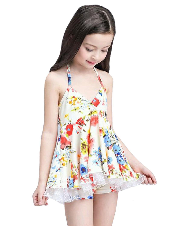 ACVIP Fille Maillot de Bain Style Robe Imprimé Fleur Beachwear