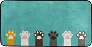 Cute Animal Paw Ptint Area Rug Floor Mat Washable Personalized Door Mat for Home Kitchen Bathroom Living Room Modern Decor, 39x20Inch