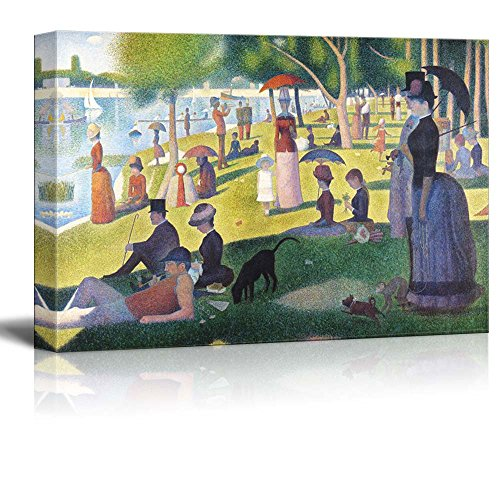 wall26 A Sunday on La Grande Jatte by Georges Seurat Giclee Canvas Prints Wrapped Gallery Wall Art   Stretched and Framed Ready to Hang - 32