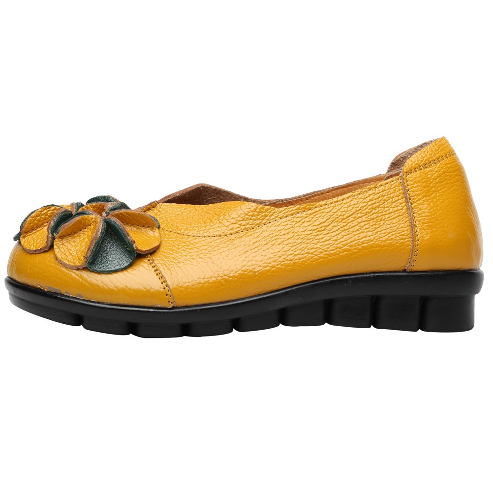 Mordenmiss Women's Round Topline with Unique Handmade Flower Leather Shoes Style 2 Yellow 36