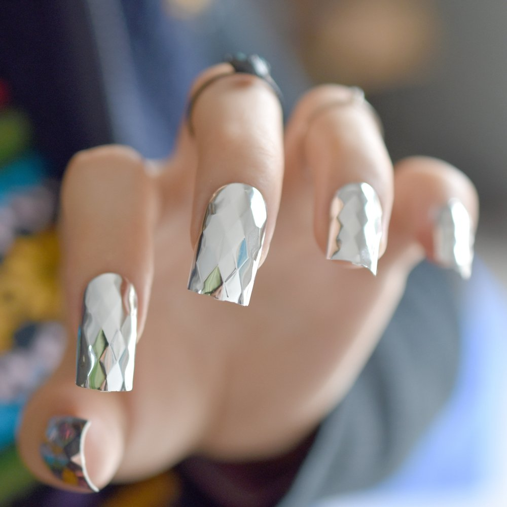 Amazon.com : 3D Metal Mirror Silver False Nails Rhombus Metallic Punk Style Square Fake Acrylic Nail Tips Diy Salon Art Bride Party Z785 : Beauty