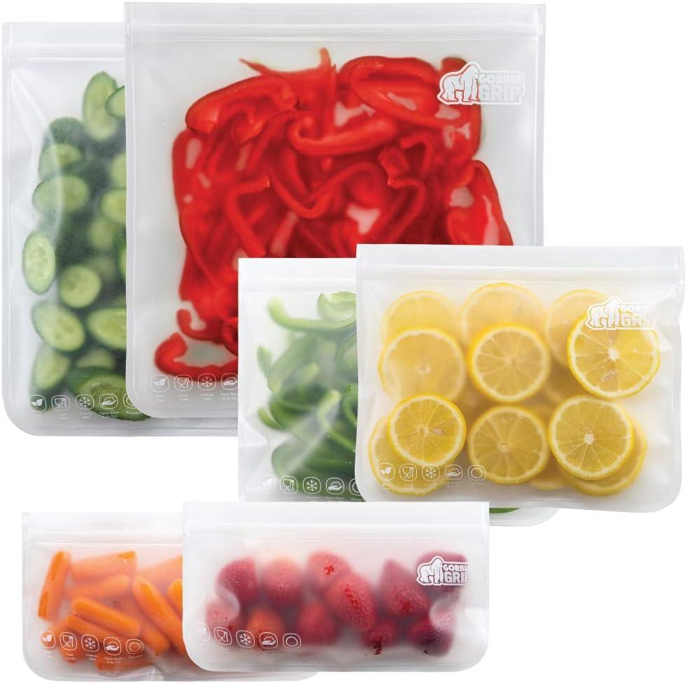 Gorilla Grip Original Premium Reusable Food Storage Bags, 6 Pack, Leakproof Secure Zip Freezer Safe, PEVA Storage Baggies, Includes 2x Each: Snack, Sandwich, Gallon Sized Bag, Clear Color Set