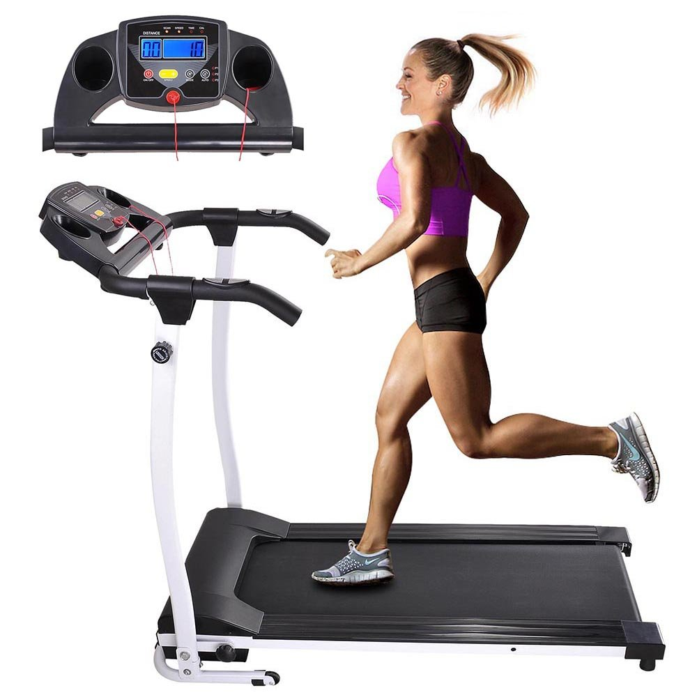 AW 1100W Folding Electric Treadmill Portable Power Motorized Machine Running Jogging Gym Exercise Fitness White
