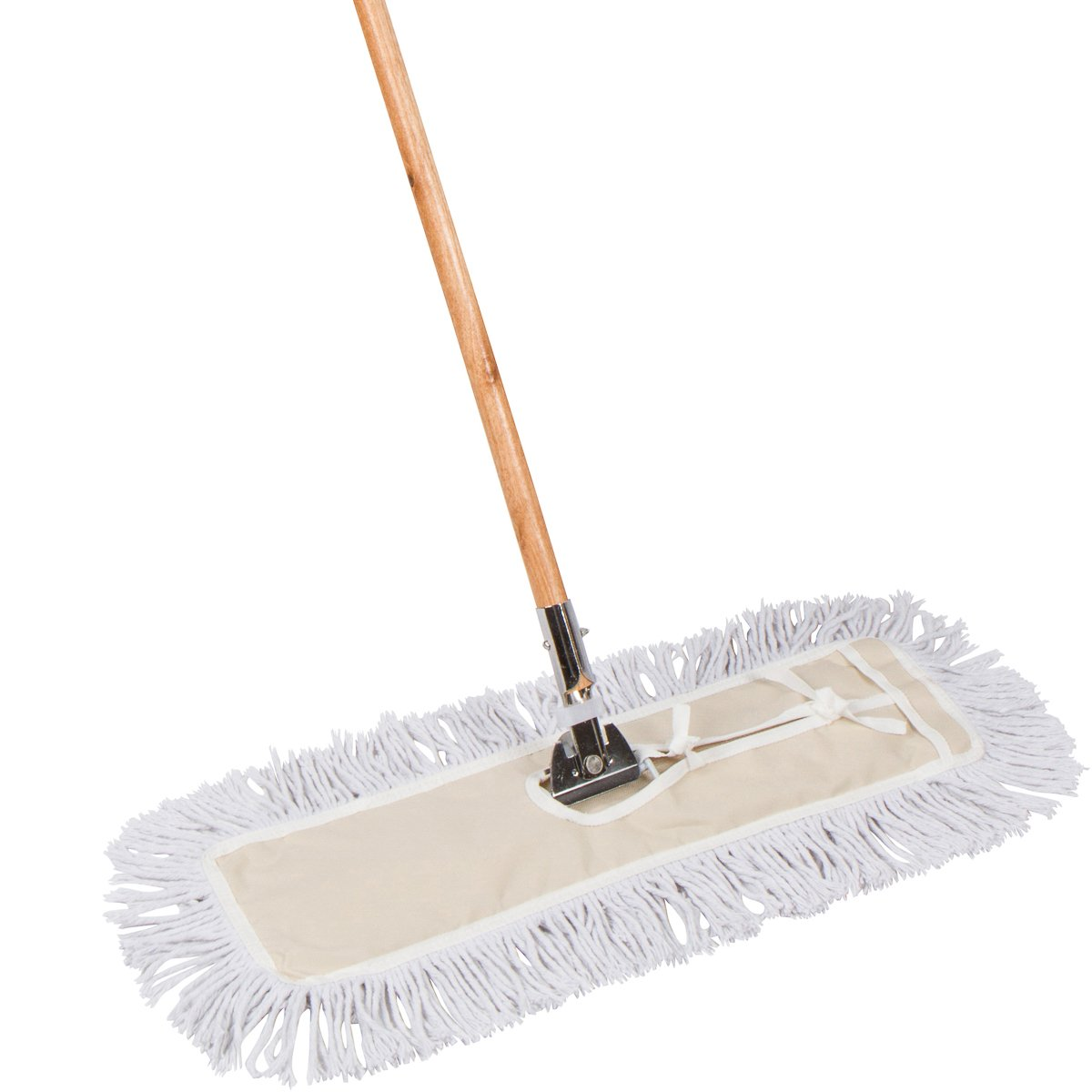AMR Market 24 inch Industrial Strength Cotton Dust Mop with Solid Wood Handle and Metal Frame. 24'' X 5'' Wide Cotton Mop Head - Hardwood Floor Broom