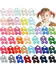 """DeD 80 Pieces 2"""" Baby Hair Ties with Bows No-damage Cotton Elastics Ponytail Holders for Baby Toddlers Girls Kids"""