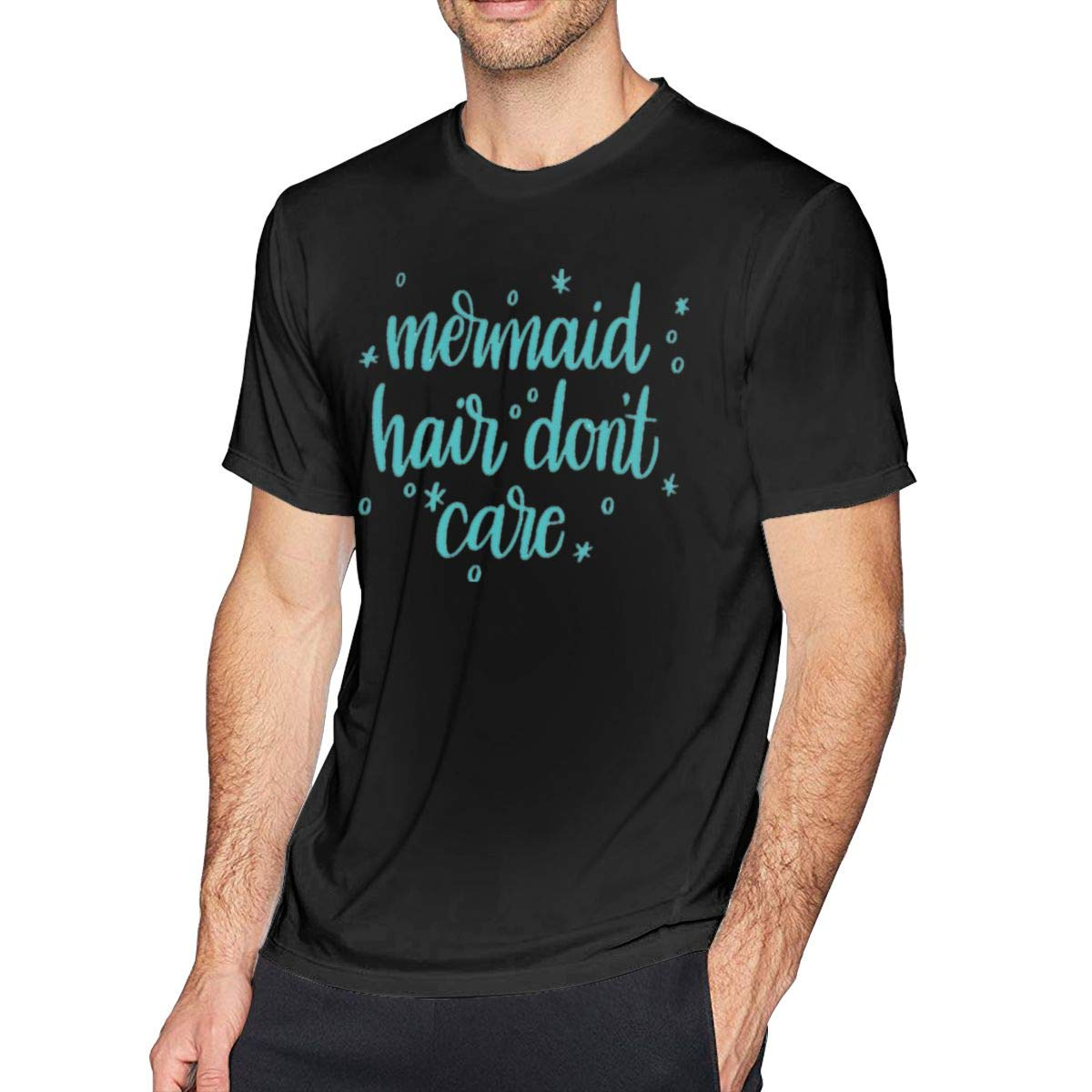 Mermaid Hair Dont Care Cotton T-Shirt Mens Comfortable Short Sleeves T-Shirts Tee Shirts Plus Size