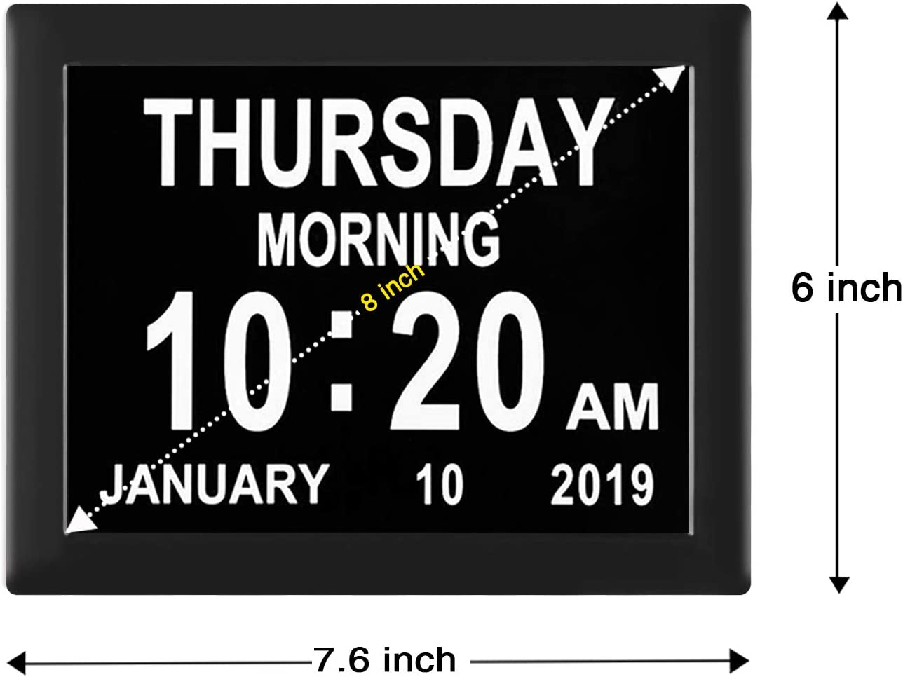 Black Elderly Memory Loss with Play Video//Photo Function TMC Newest Version Digital Calendar Day Clock -8 Alarms,Extra Large Non-Abbreviated Day for Vision Impaired