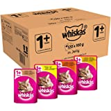 Whiskas 1+ Wet Cat Food for Adult Cats Poultry Selection in Jelly, 120 Pouches (120 x 100 g)