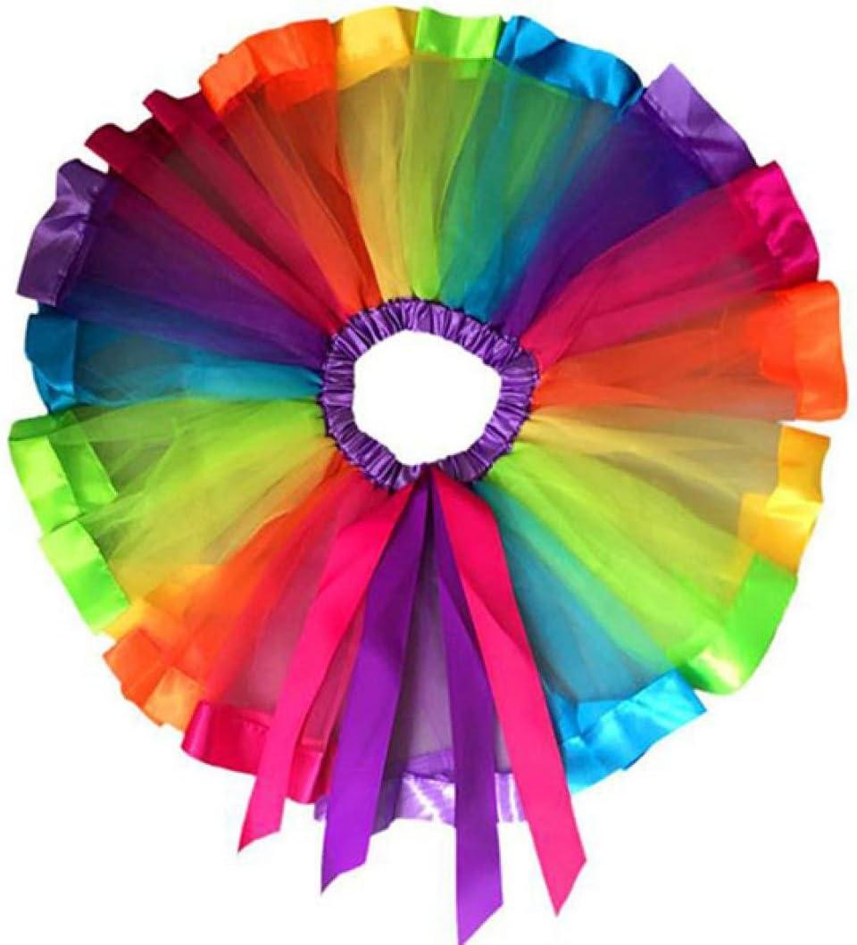 NEARTIME Girls Dress, New Girls Kids Petticoat Rainbow Pettiskirt Bowknot Skirt Tutu Dress Dancewear