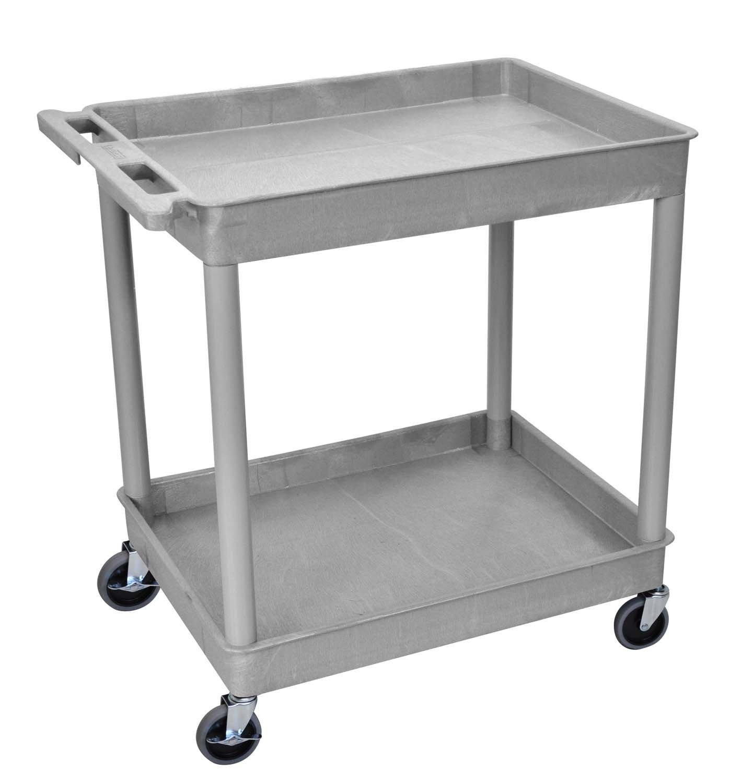 Luxor/H.Wilson 2 Shelf Utility Tub Cart, Gray (TC11-G)