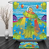 Vipsung Shower Curtain And Ground MatOuter Space Decor For Kids Scary Monster in Ufo on Planet Solar System Galaxy Funky Back Decor Green BlueShower Curtain Set with Bath Mats Rugs