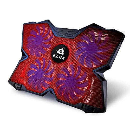 KLIM Wind Laptop-PC Kühler - Leistungsstark wie kein anderer - Schneller Kühlvorgang - 4 Lüfter Belüfteter Notebookständer Gamer Gaming Stützhalterung (Rot)