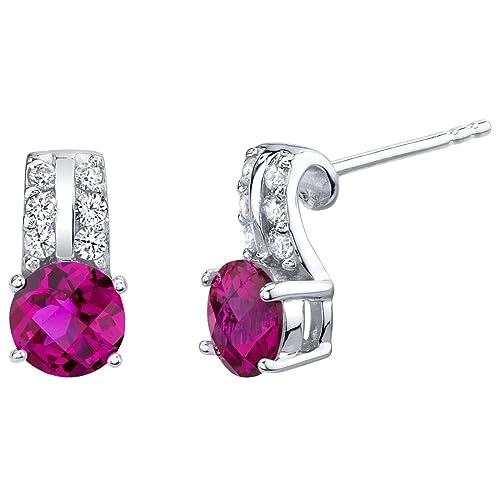 Sterling Silver Arc Stud Earrings in Various Gemstones