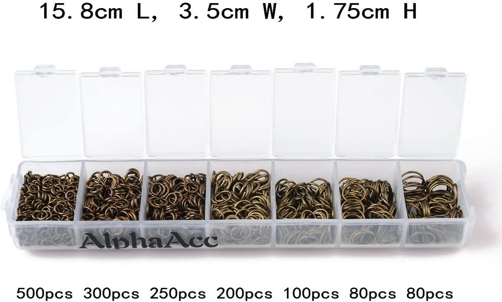 200pcs DIY Jewelry Rings Open Connector Plastic Box-packed Jump Rings Case Pack