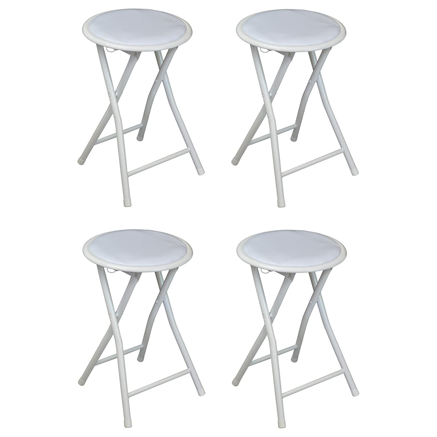 Harbour Housewares Round Compact Folding Stool - White - Pack Of 4