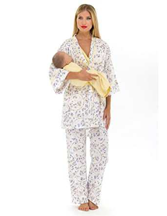 83769e4980855 Olian Maternity Yellow Flowers Nursing Pajama Set at Amazon Women's ...