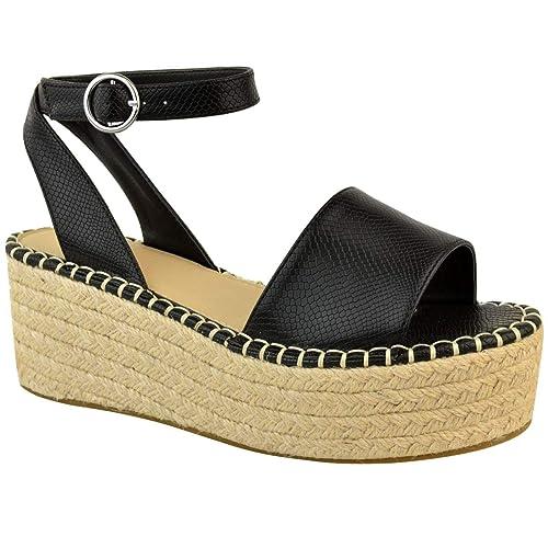 85790afae81828 Fashion Thirsty Femmes Paltes Liège Sandales Espadrilles Semelle Compensée  Cheville Chaussures à Lacets Taille par Heelberry