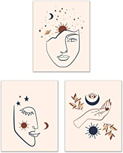 Celestial Modern Art Prints - Set of 3 (8x10) Inches Glossy Trendy Boho Chic Terra Cotta Minimalist Contemporary Abstract Hipster Wall Art Decor - Faces Hands Moon Stars Sun Planets