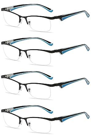 d170e2a51a VEVESMUNDO Reading Glasses Men Women Semi Rimless Metal Spring Hinges  Eyeglasses (Style 1-4