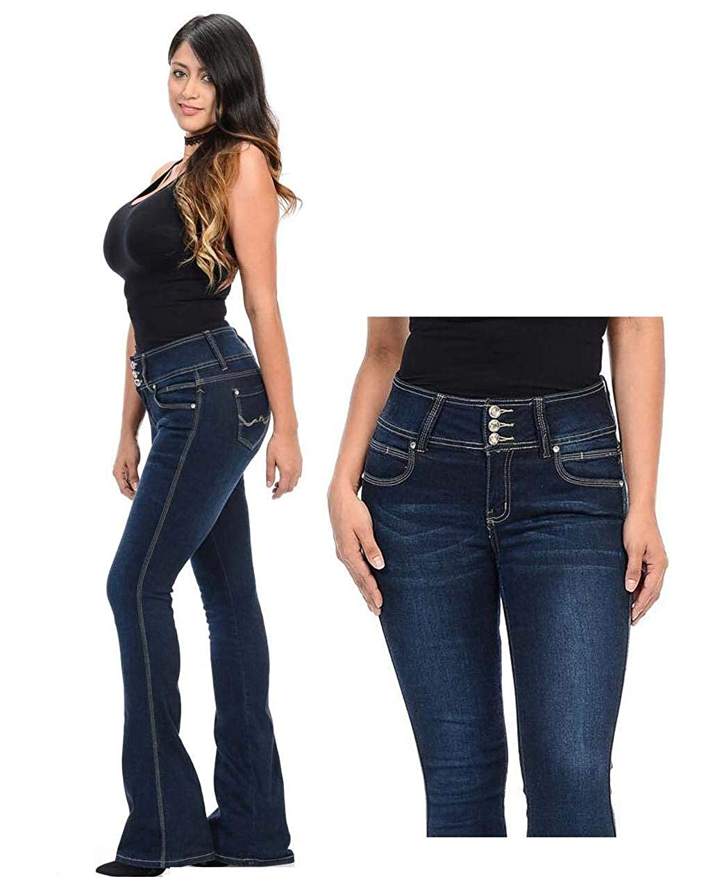 ad0b15975a3 Women s Juniors 70s Trendy Sexy Asymmetric Tassel Slit Flare Fitted High  Waist Bell Bottom Denim Jeans at Amazon Women s Jeans store