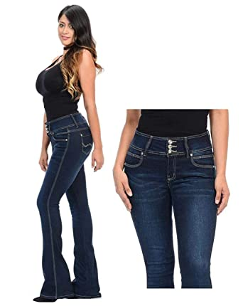 9dfeda280acb2 Wax   Jack David Jeans Womens Juniors 70s Trendy Slim Fit Flared Bell  Bottom Denim Jean