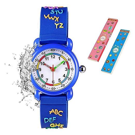 Reloj de pulsera para niños y niñas, diseño 3D de dibujos animados, correa de
