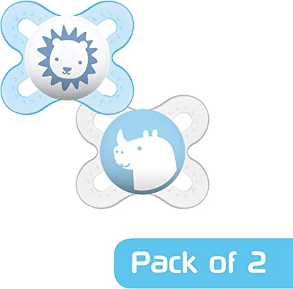 MAM 0-2 Months Blue Start Soothers 2-Pack Designs may vary