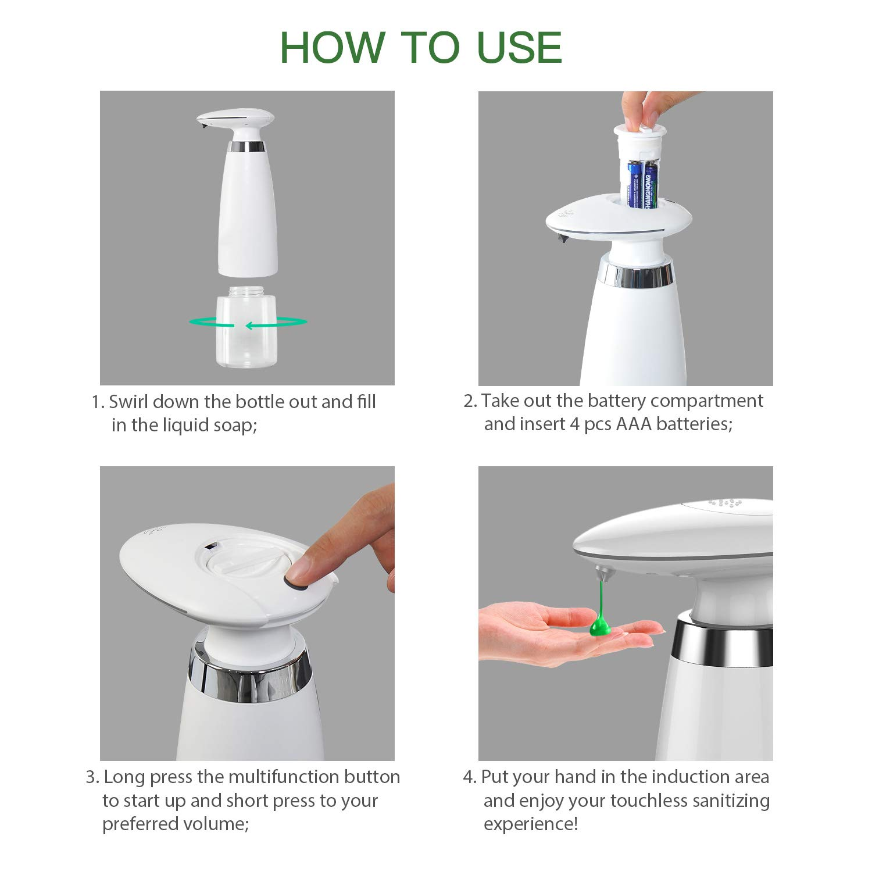 School Clinic Dispensary Adjustable Soap Dispensing Volume 11.5OZ Capacity Infrared Motion Sensor Touchless Countertop Soap Dispensers for Smart Home Black SVAVO Automatic Sensor Soap Dispenser