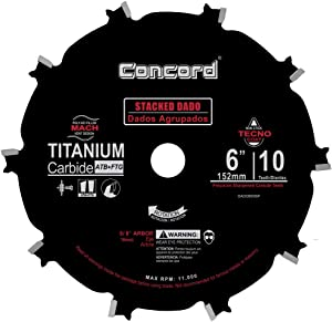 "Concord Blades DADO600SP 6"" 10 Tooth Stacked Dado Set Non-stick Coated Blade"