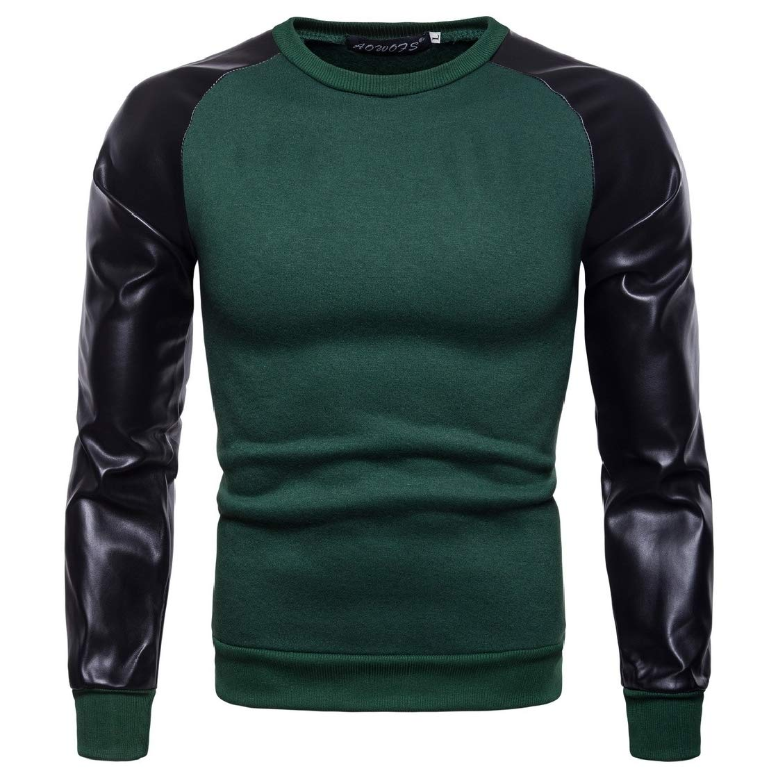 YUNY Mens Faux-Leather Pullover Plus Velvet Simple Splicing Sweatshirt Top Green M