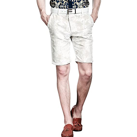 51f77d6d20 FANZHUAN Fashion Shorts Men Fitness High Quality Jacquard White:  Amazon.co.uk: Clothing