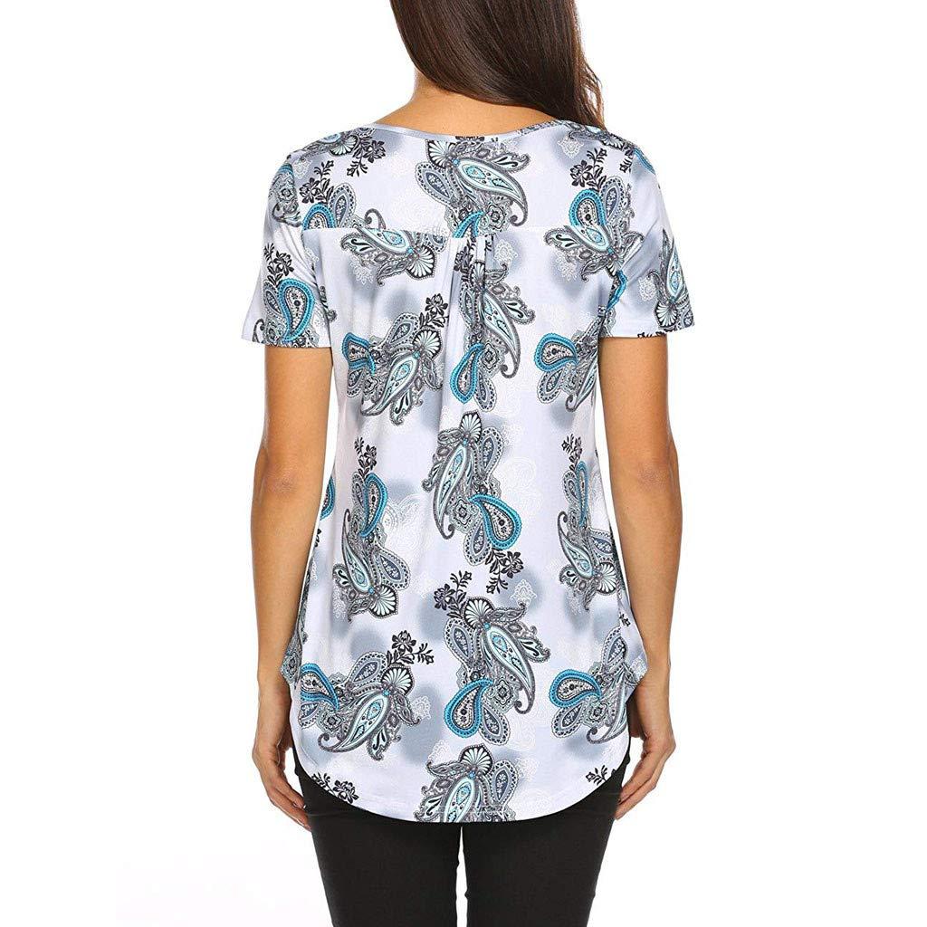 AOJIAN T Shirt Women Short Sleeve Shirts Tunic Temperament Print Blouse Button V Neck Halter Vest Tank Tops