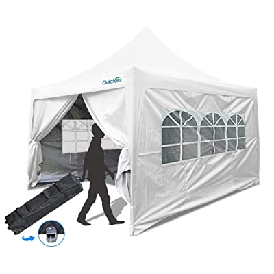Quictent 10x10 ft EZ Pop Up Canopy Tent Waterproof Commercial Gazebo Party Tent Portable Pyramid-roofed with 4 Removable Sides & Roller Bag (White): Sports & Outdoors