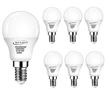 Bombilla LED, de Tech Traders, P45, E14, 5 W, luz blanca cálida: Amazon.es: Iluminación