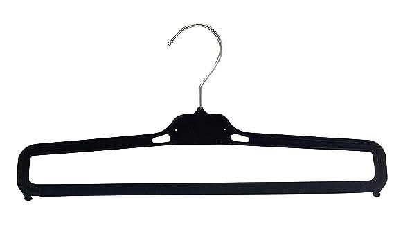 Kiroplast 38 cm Color Negro Perchas para Pantalones flocados 20 Perchas para Pantalones Antideslizantes de Terciopelo