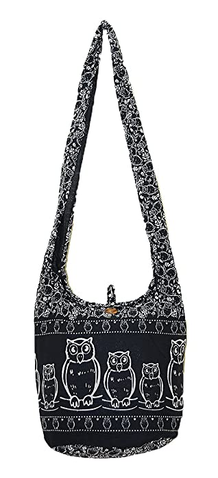 abf51a09111 Amazon.com  Thai Hippie Hobo Sling Crossbody Shoulder Bag Purse Handmade  Zip Black Owl Bird Pattern Cotton Gypsy Boho Messenger Medium  Shoes