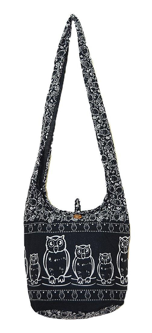 Thai Hippie Hobo Sling Crossbody Shoulder Bag Purse Handmade Zip Black Owl Bird Pattern Cotton Gypsy Boho Messenger Medium