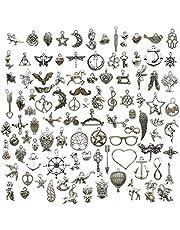 Youdiyla Wholesale Bulk Lots 100Pcs Tibetan Silver Charms Pendant Fitting for DIY Necklace Bracelet Earrings Jewellery Making Accessories WM097