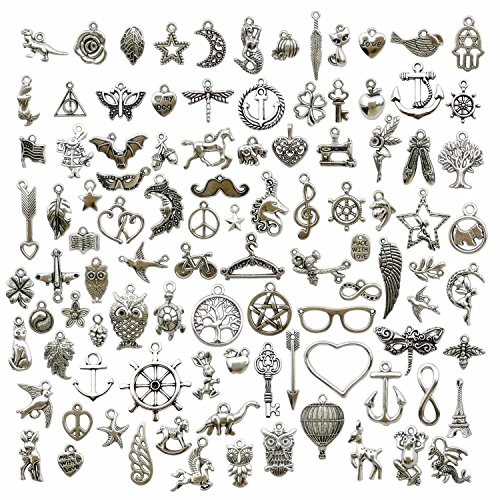 100 PCS Mixed Charms Collection - Antique Silver Mixed Pendant DIY for Necklace Bracelet Earring Chain Jewelry Findings (HM97)