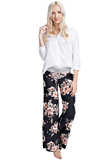 2163cf04f8d Marilyn   Main Women s Comfy Soft Stretch Floral Polka Dot Pajama Pants  (Small