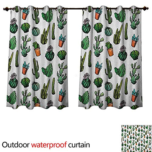 Spiked Arrows (Anshesix Cactus Outdoor Curtain for Patio Sketchy Spiked Mexican Garden Foliage Boho Hand Drawn Style Line Art Cacti in Pots W72 x L63(183cm x 160cm))