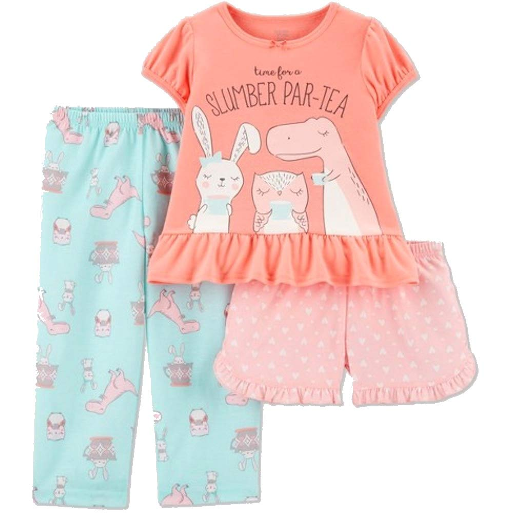Carters Just One You Animal Slumber Par-Tea 3 Piece Pajama Set Peach