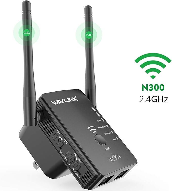 WAVLINK N300 Repetidor WiFi,Extensor de Red/Modo Punto de Acceso (Modo Ap)/ Router + 2 *Antena de Señal Potente+Cable Ethernet (WPS, LAN+WAN/LAN) ...
